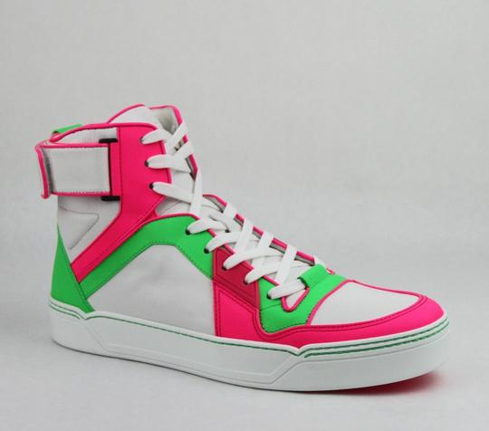 Gucci Green/Pink/White W Neon Leather High-top Sneaker W/Strap 10.5g/ Us 11.5 386738 5663 Shoes Image 0