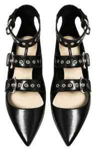 Zara Strappy Pointed Toe Rocker Buckle Black Flats