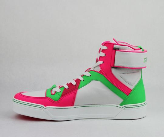 Gucci Green/Pink/White W Neon Leather High-top Sneaker W/Strap 11g/ Us 12 386738 5663 Shoes Image 6