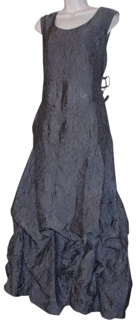 Item - Brown Gray L Crynkle Ruffled Sleeveless Size:l Long Cocktail Dress Size 12 (L)