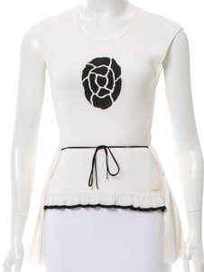 Chanel Interlocking Cc Logo Sleeveless Knit Rib-knit Top White, Black