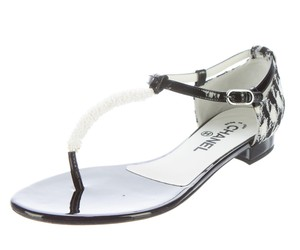 Chanel Gold Hardware Interlocking Cc Ankle Strap Patent Leather Tweed Black, White Sandals