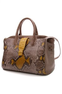 Nancy Gonzalez Tote in Taupe, yellow