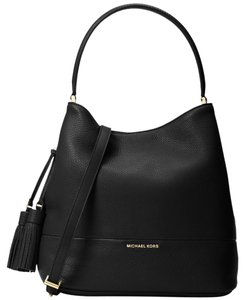 Michael Kors Kip Leather Bucket Satchel in Black