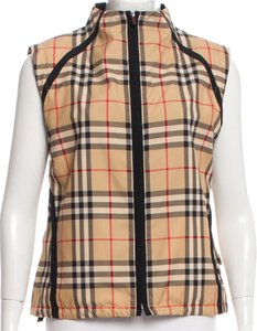 Burberry Plaid Nova Check Exploded Check V-neck Sleeveless Cape