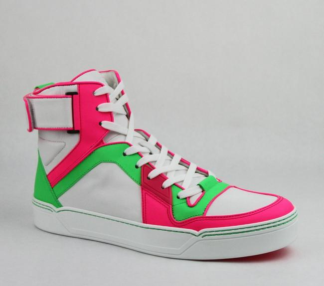 Gucci Green/Pink/White W Neon Leather High-top Sneaker W/Strap 14.5g/ Us 15.5 386738 5663 Shoes Gucci Green/Pink/White W Neon Leather High-top Sneaker W/Strap 14.5g/ Us 15.5 386738 5663 Shoes Image 1