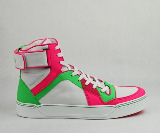 Gucci Green/Pink/White W Neon Leather High-top Sneaker W/Strap 14.5g/ Us 15.5 386738 5663 Shoes Image 5