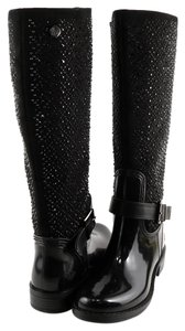 POSH WELLIES Waterproof Tall Size 8 Black Boots