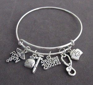 Fashion Jewelry For Everyone Silver Nurses Call The Shots Bangle Bracelet Nurse Graduation Registere Other
