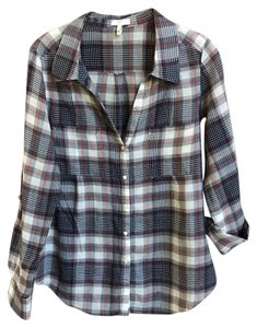 Joie Top navy plaid