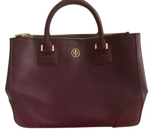 Tory Burch Saffiano Leather Good Condition Satchel in Plumb