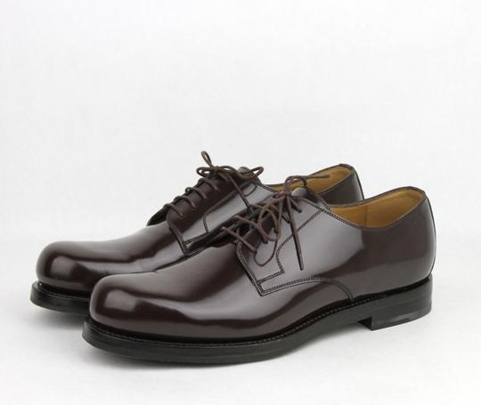 Gucci Brown Shiny Leather Cocoa Oxford Lace-up 8 / Us 9 386542 2140 Shoes Image 1