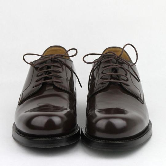 Gucci Brown Shiny Leather Cocoa Oxford Lace-up 8 / Us 9 386542 2140 Shoes Image 2