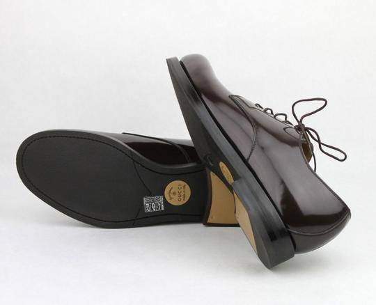 Gucci Brown Shiny Leather Cocoa Oxford Lace-up 8 / Us 9 386542 2140 Shoes Image 7