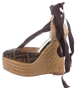 Fendi Ankle Strap Zucca Gold Hardware Logo Monogram Brown, Black Platforms