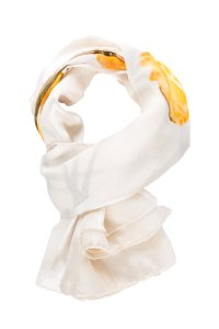 Saint Laurent Ivory Silk Stripe Scarf With Floral Print