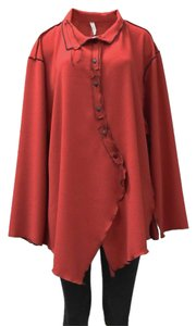XIAO Stretchy Fabric Contrast Stitching Button Down Shirt red