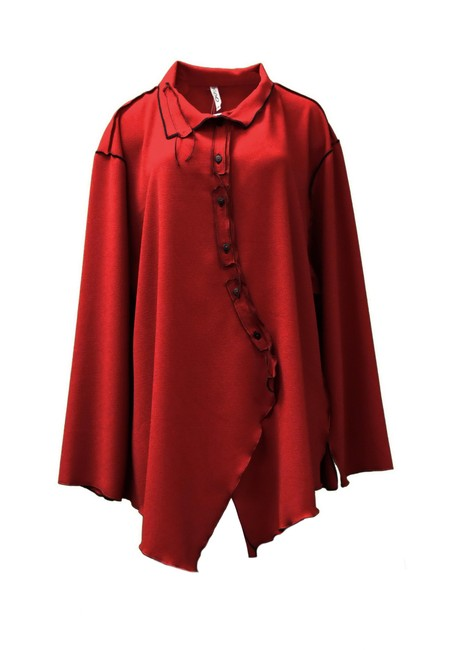 XIAO Stretchy Fabric Contrast Stitching Button Down Shirt red Image 1