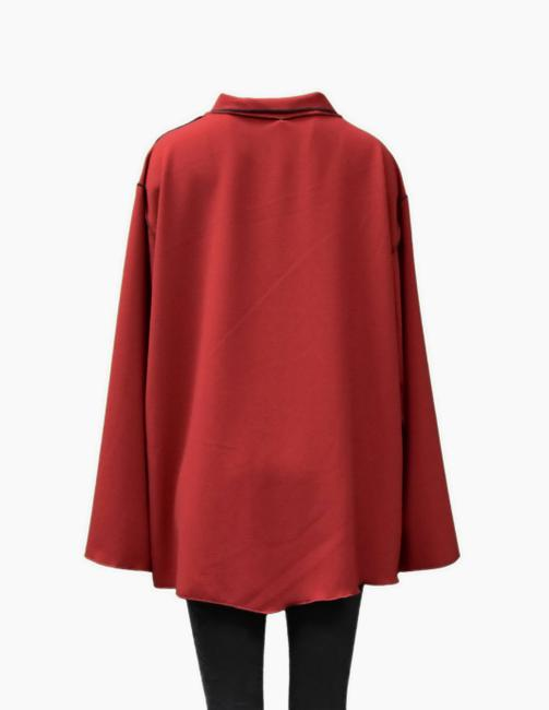 XIAO Stretchy Fabric Contrast Stitching Button Down Shirt red Image 2