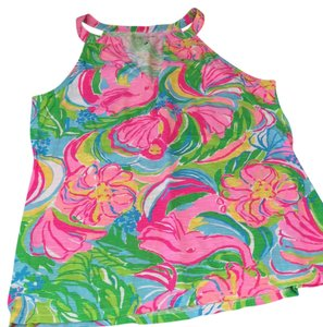 Lilly Pulitzer Top hot pink, bright yellow, bright green, bright blue