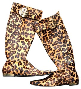 Tory Burch leopard print with gold metal details Boots