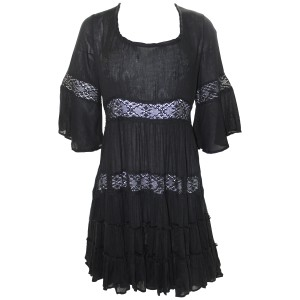 Free People short dress Black Daisy Lace Rayon Dryclean Only on Tradesy