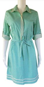 Max Studio short dress Turquoise Shirt Polka Dot Cotton Adjustable Sleeves on Tradesy