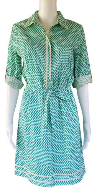 Max Studio Turquoise W New Mssp Polka Dot Small S W/Tie Belt Short Casual Dress Size 4 (S) Max Studio Turquoise W New Mssp Polka Dot Small S W/Tie Belt Short Casual Dress Size 4 (S) Image 1