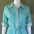 Max Studio Turquoise W New Mssp Polka Dot Small S W/Tie Belt Short Casual Dress Size 4 (S) Max Studio Turquoise W New Mssp Polka Dot Small S W/Tie Belt Short Casual Dress Size 4 (S) Image 5
