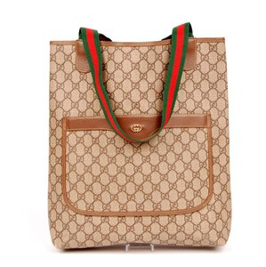 Gucci Monogram Laptop Weekend Travel Tote in Brown