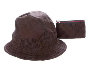 Gucci Brown GG monogram nylon Gucci bucket hat L sz
