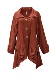 XIAO Stretchy Fabric Lagenlook Button Down Shirt Rust
