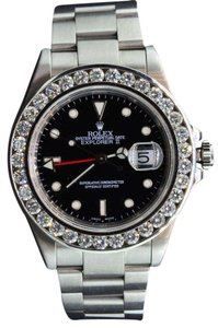 Rolex Diamond Rolex Watch Explorer II Black Dial Stainless Steel Band 6 Ct.