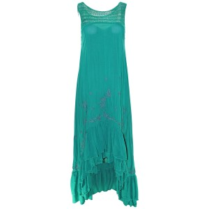 Emerald Combo Maxi Dress by Free People Long Crochet Emerald Rayon
