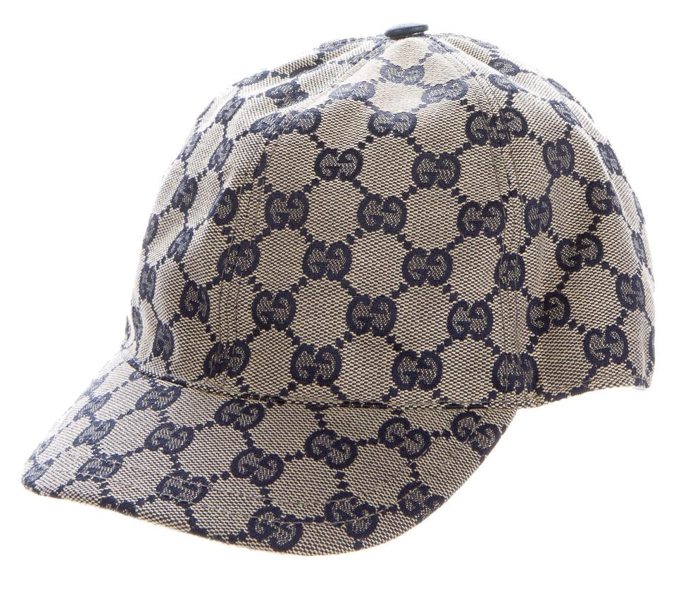 24fc4bd8bd5 Gucci Blue Grey Black Navy Gg Monogram Canvas Baseball Cap Hat - Tradesy