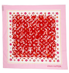 Louis Vuitton Pink, red multicolor Splash Louis Vuitton floral LV print scarf