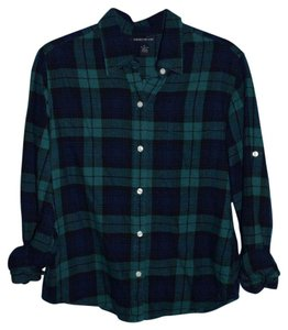 Lucky Brand Button Down Shirt Navy and Green Plaid