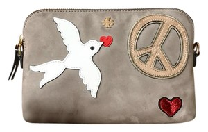 Tory Burch Suede Peace Sign Cross Body Bag