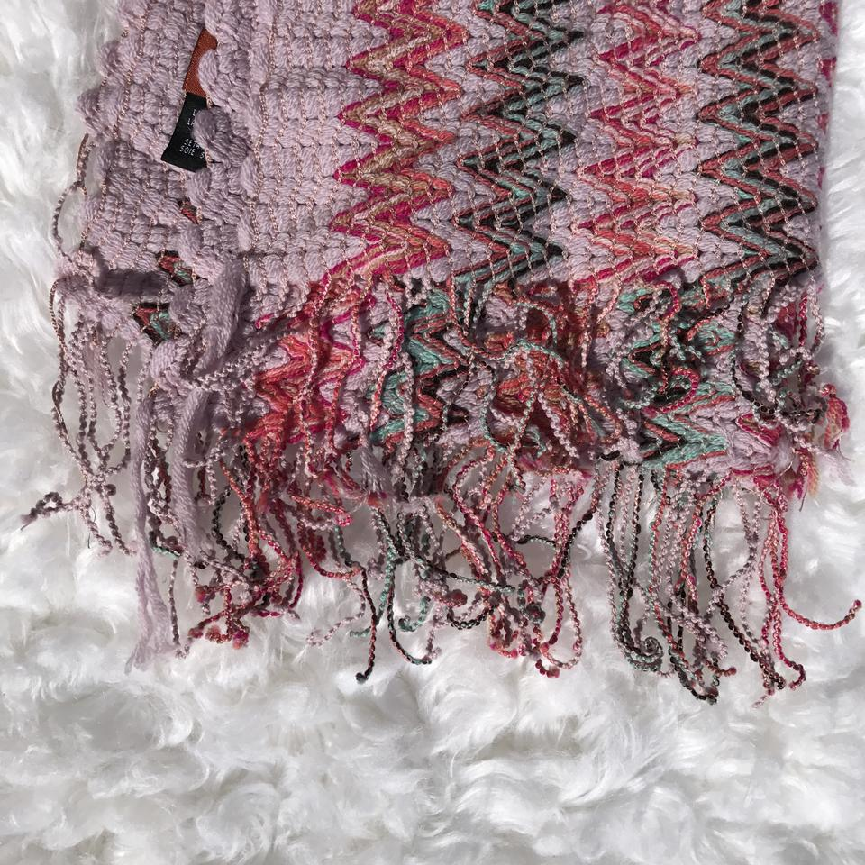 9e923dd8db Missoni Purple Pink Orange Blue Zigzag Wool Knit Scarf Wrap - Tradesy