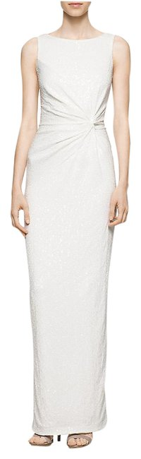 Preload https://img-static.tradesy.com/item/20930484/calvin-klein-cream-women-ruched-twist-sequin-gown-long-night-out-dress-size-8-m-0-1-650-650.jpg