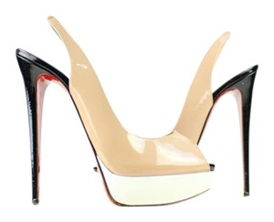Christian Louboutin Tricolor Sling Back Lady Peep Open Toe Beige Nude Pumps
