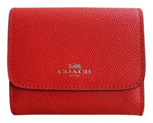 Coach ACCORDION CARD CASE WALLET IN CROSSGRAIN LEATHER Bright Red