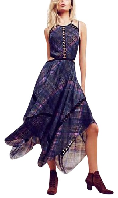 blue Maxi Dress by Free People Cut-out Plaid New With Tags Open Back Glasgow