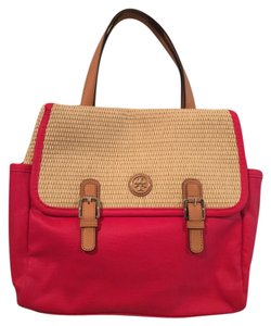 Tory Burch Leather Monogram Satchel in Red