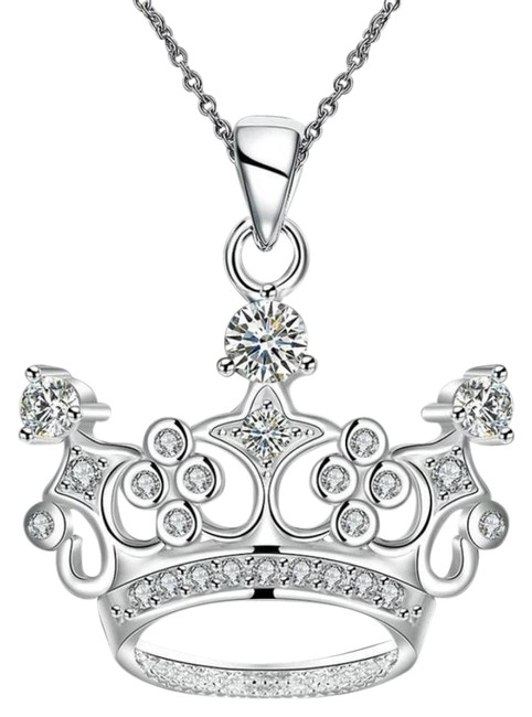 Silver Mardi Gras Ball Crown Crystal Necklace Silver Mardi Gras Ball Crown Crystal Necklace Image 1