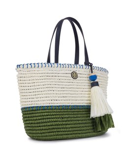Tory Burch Tote in Natural/Vineyard/Bondi Blue