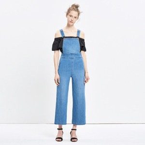 Madewell Retro Culotte 1970s Summit Overalls Trouser/Wide Leg Jeans-Medium Wash