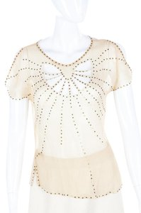Catherine Malandrino Silk Studded Sheer Cut-out Top Nude