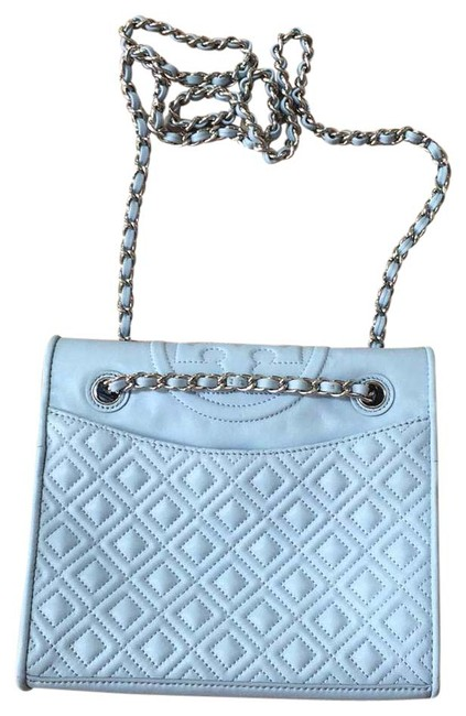 Tory Burch Shoulder Powder Blue Leather Messenger Bag Tory Burch Shoulder Powder Blue Leather Messenger Bag Image 1