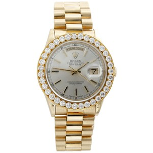 Rolex Mens 18K YellowGold Diamond Watch 36mm Rolex President Day-Date 3.75Ct